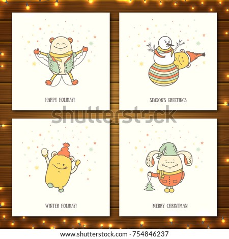 Set christmas greeting cards funny characters stock vector 754846237 set of christmas greeting cards with funny characters collection of postcards with personages on wooden m4hsunfo