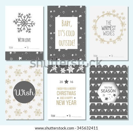set of 6 Christmas Greeting Cards with holly jolly. Merry Christmas lettering. Template for New 2016 Year Cards, Scrapbooking, Stickers, Planner, Invitations. - stock vector