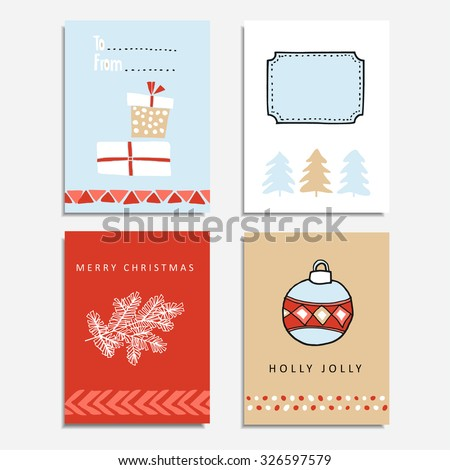 Set of Christmas greeting, journal cards, vector hand drawn  illustration backgrounds - stock vector