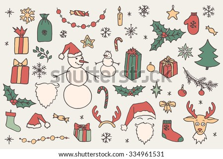 Set of Christmas hand drawn doodle elements in retro colors isolated over white background. Santa, Christmas tree, reindeer, snowman, snowflakes, gifts, decorations, holly, candle, stars.