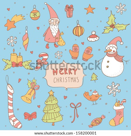 Set of Christmas hand drawn doodle icons. EPS 10. No transparency. No gradients. - stock vector
