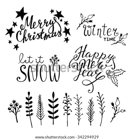Set of Christmas hand drawn graphic elements on white background  - stock vector