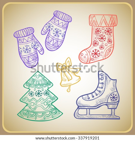Set of Christmas holiday items - boots, tree, skate and mittens