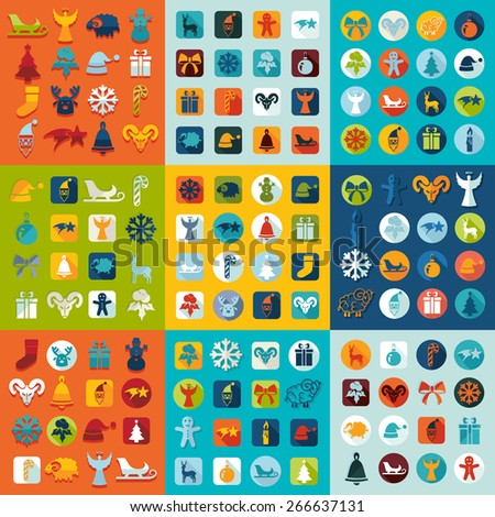 Set of Christmas icons - stock vector