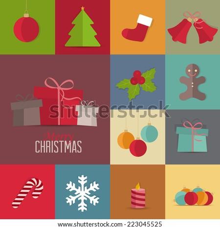 Set of Christmas icons, Christmas retro card - stock vector