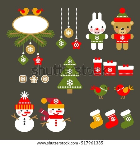 Set of Christmas Icons Isolated. Flat Style. Modern Trendy Design. Vector Illustration.