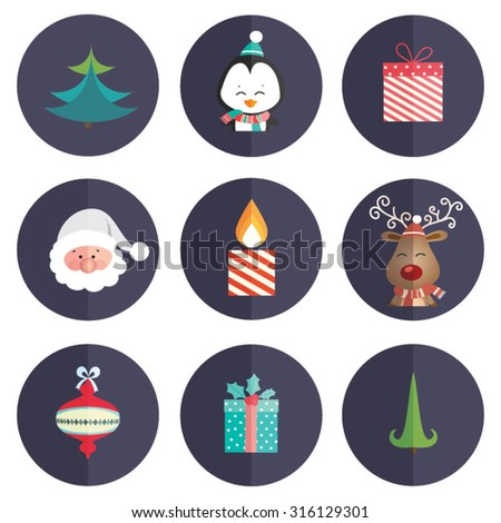 Set of Christmas Icons Isolated. Modern Trendy Design. Vector Illustration. - stock vector