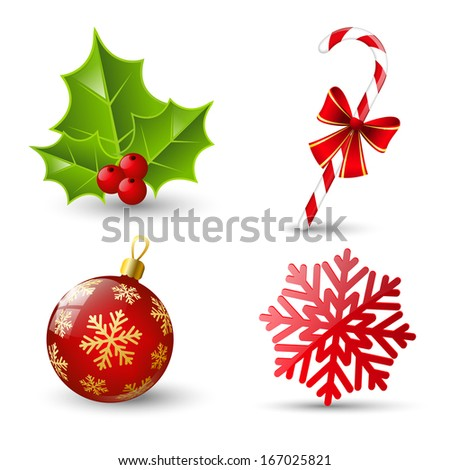 Set of Christmas icons on white - stock vector
