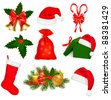 Set of Christmas icons. Vector illustration. - stock vector
