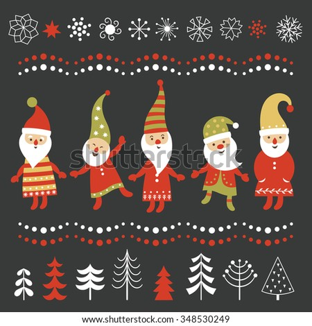 Set of Christmas illustrations and graphic elements - stock vector