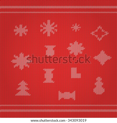 Set of Christmas knitted attributes: snowflakes, candies, stars, snowman, Christmas tree and boot on a red knitted background. Vector eps 10.