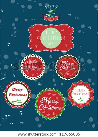 Set of Christmas labels - stock vector