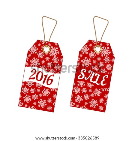 Set of Christmas labels tags with red background from snowflakes. Element for your Christmas designs, projects, promotional sales and other your projects - stock vector
