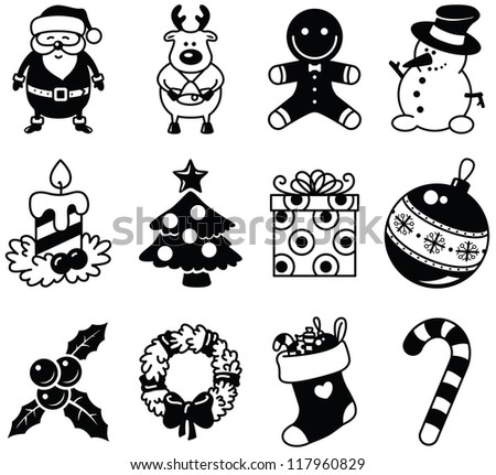 Set of Christmas minimalistic icons - stock vector