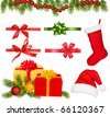 Set of Christmas objects. Vector. - stock photo