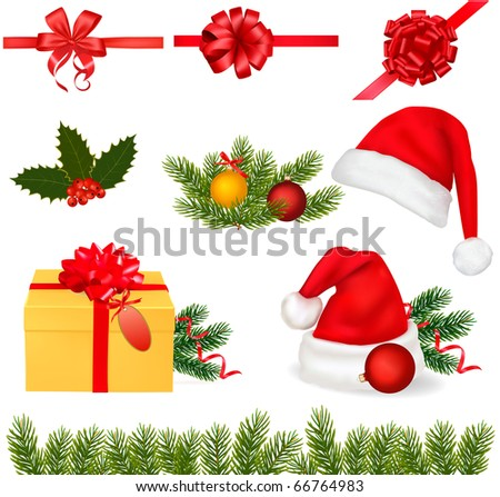 Set of Christmas objects. Vector. - stock vector