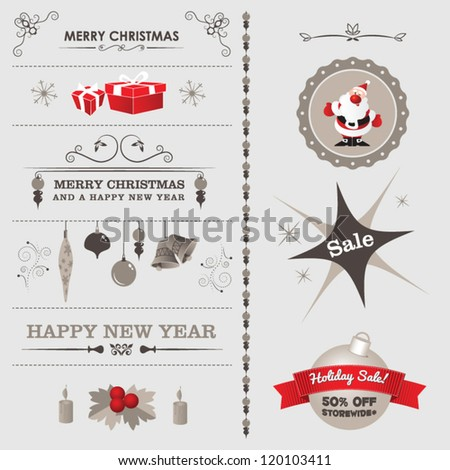 Set of christmas ornaments and decorative elements - stock vector