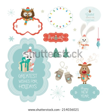 Set of christmas ornaments and decorative elements, vintage banner, ribbon, labels, frames, badge, stickers. Vector Christmas element. Vintage characters