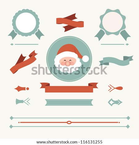 Set of christmas ornaments and decorative elements, vintage frames, labels, stickers. Christmas element - stock vector