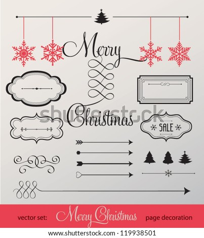Set of christmas ornaments and decorative elements, vintage frames, labels, stickers. Christmas element. - stock vector