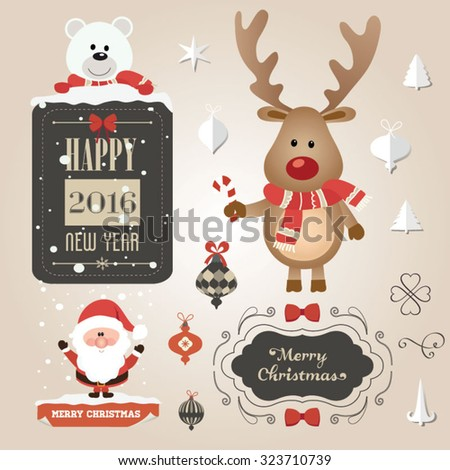 Set of Christmas ornaments and decorative elements, vintage frames, labels, stickers. Christmas element. Vintage Santa Claus and reindeer - stock vector