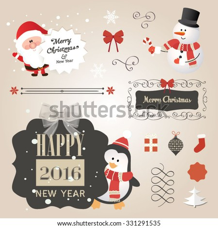 Set of Christmas ornaments and decorative elements, vintage frames, labels, stickers. Christmas vector element. Vintage Santa Claus and friends - stock vector