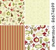 Set of Christmas patterns - stock vector