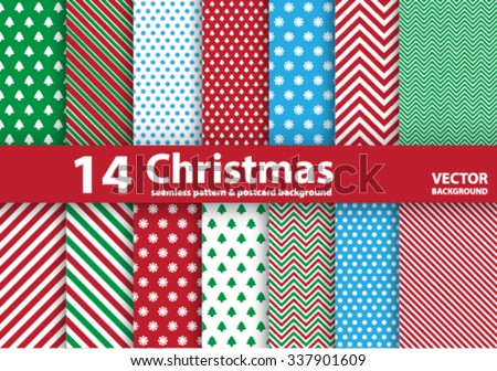 Set of Christmas patterns and seamless background.Illustration eps10 - stock vector