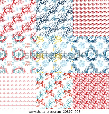 Set of Christmas patterns in the style of Hand Drawn - stock vector