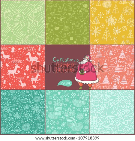 Set of christmas patterns (seamlessly tiling). Can be use for Christmas card design - stock vector