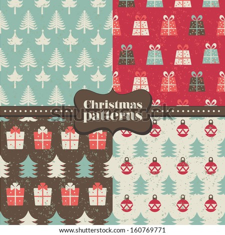 Set of christmas patterns (seamlessly tiling). Can be use for Christmas design. - stock vector