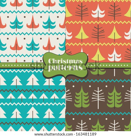 Set of christmas patterns (seamlessly tiling). Can be use for Christmas design.