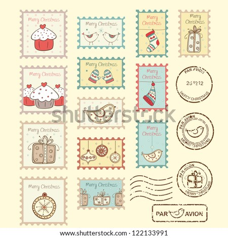 Set of christmas post stamps on yellow background - stock vector