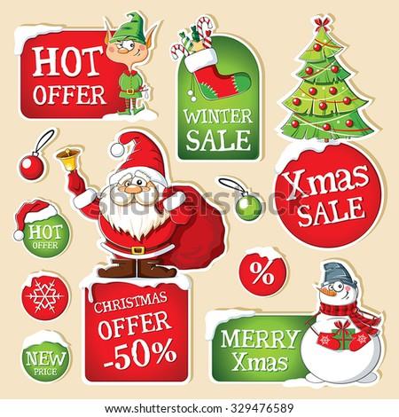 Set of Christmas price tags  - stock vector