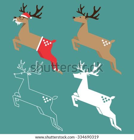 Set of Christmas reindeer in flat design. Vector Illustration. - stock vector