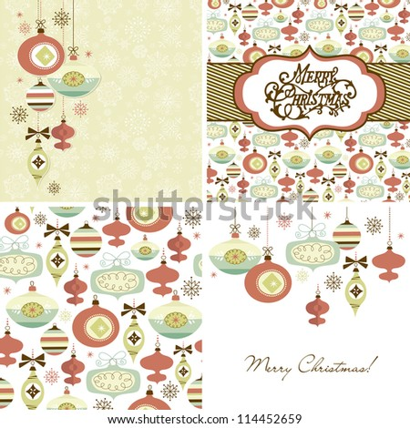 Set of Christmas Retro backgrounds - stock vector