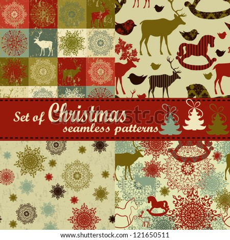 Set of Christmas Retro backgrounds Christmas pattern Set of seamless patterns - stock vector