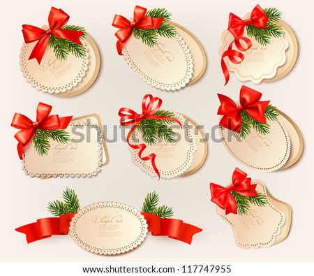 Set of christmas retro labels with red gift bows with ribbons. Vector - stock vector
