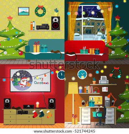 Set of christmas room interiors. Christmas tree, gift and decoration. Home desk with a chair and a computer. Sofa and a home theater. Flat cartoon vector illustration