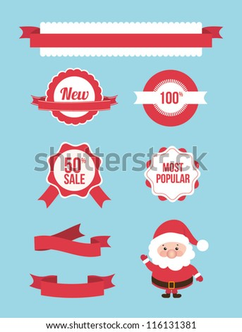 Set of christmas sale banners, frames, labels, ribbons, stickers. Vector illustration element. Santa claus - stock vector
