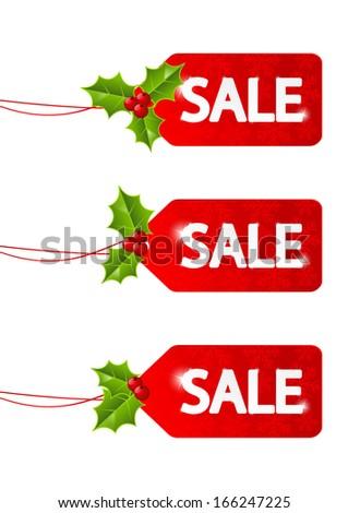 Set of Christmas sale tags - stock vector