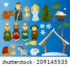 Set of Christmas scene elements - stock