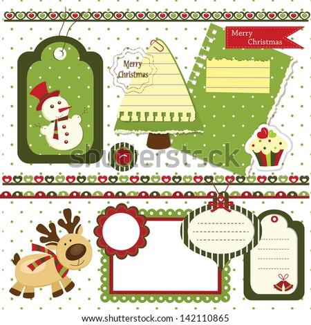 Set of Christmas scrapbook design elements - stock vector