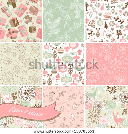 Set of Christmas Seamless backgrounds  - stock vector