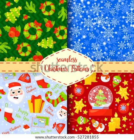 Set of Christmas seamless patterns.Backgrounds with symbols holiday and icons of family celebration elements.Winter seasonal wrapping paper, wallpaper, fabric, textile, backdrop design.Vector clip art