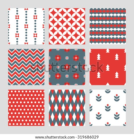 Set of Christmas seamless patterns in Red, Grey and White. Diamond, Waves, Chevron, Flowers, Fir Trees, Polka Dot, Harlequin and Floral patterns. Perfect for wallpaper, gift paper, greeting cards - stock vector