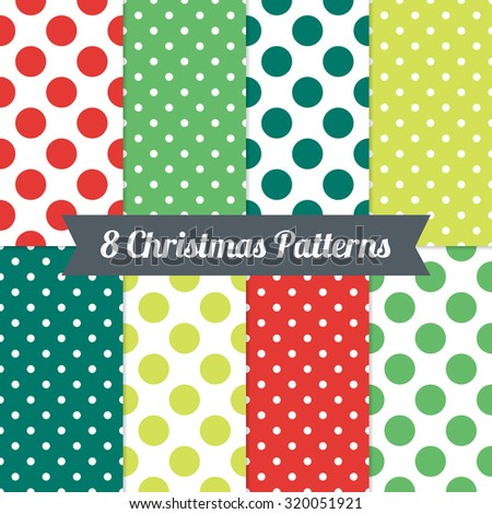 Set of Christmas Seamless Patterns with Polka Dot and Jumbo Polka Dot in Red, Green and White. Perfect for wallpapers, pattern fills, background, textile, Christmas and New Year greeting cards - stock vector