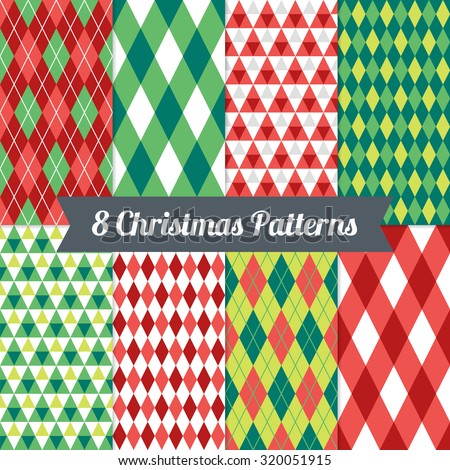Set of Christmas Seamless Patterns with Triangles, Argyle and Harlequin in Red, Green and White. Perfect for wallpapers, pattern fills, background, textile, Christmas and New Year greeting cards - stock vector