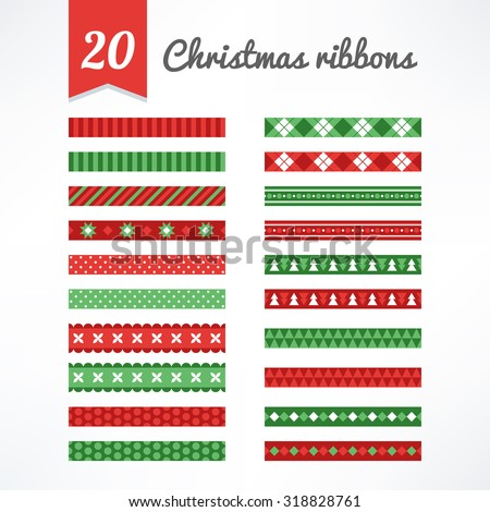 Set of Christmas seamless ribbons in Green, Red and White. Perfect for creating collages, decorating wishes, albums, greeting cards, glass, candles, home accessories and more - stock vector