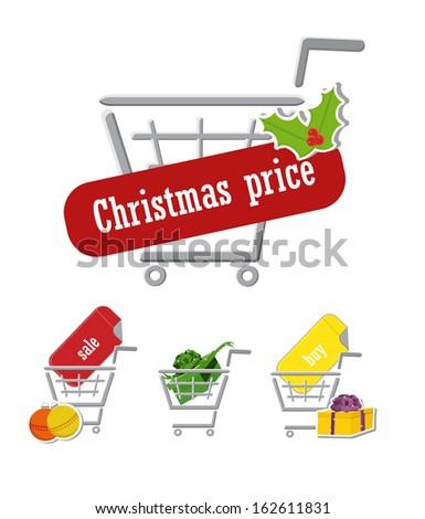 Set of christmas shopping cart (vector) - stock vector